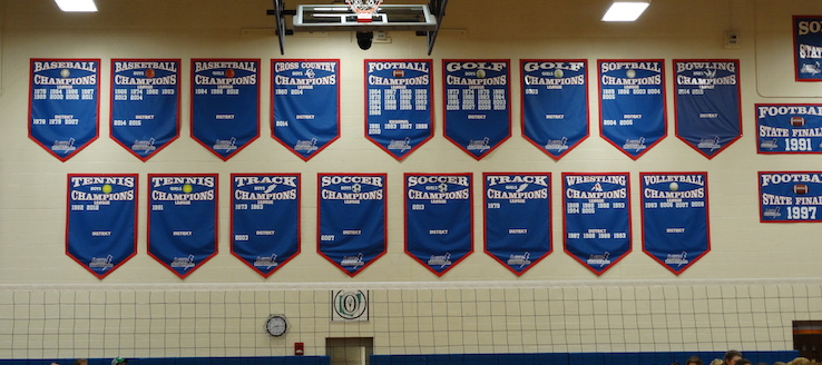 Lake Blue Streaks Gym Championship Banners