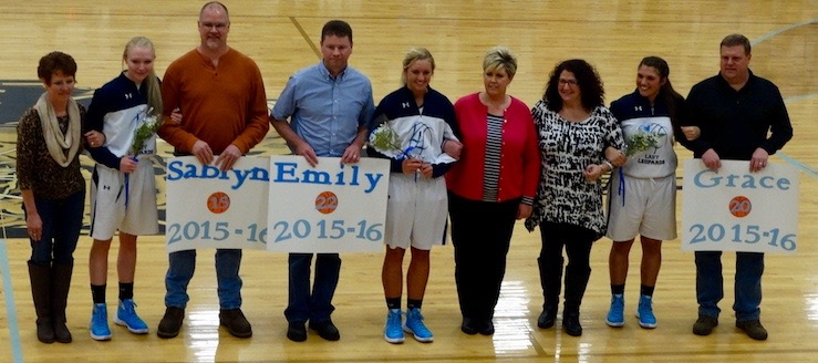 Louisville Leopards Girls Basketball Senior Night 2016 with Parents