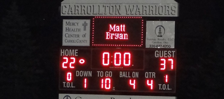 Carrollton Warriors Football Scoreboard at Community Field