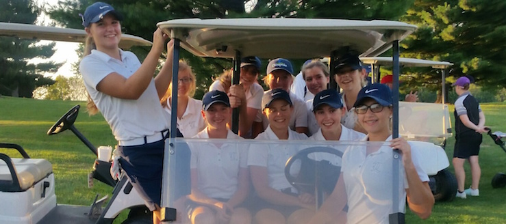 Louisville Leopards Girls Golf Team 2016 in Cart