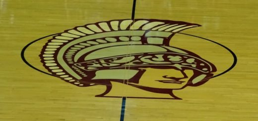 Boardman Spartans Center Court Logo in Basketball Gym