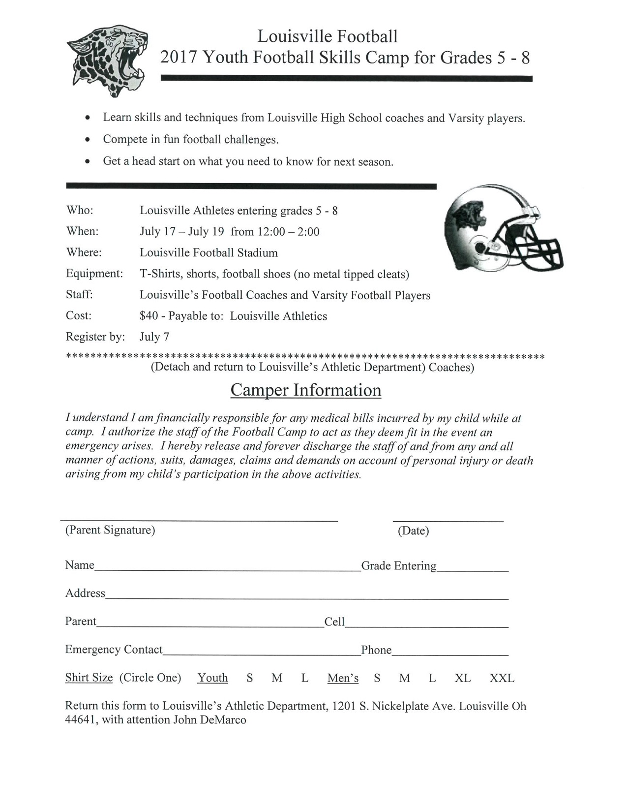 Louisville Football 2017 Youth Football Skills Camp Form