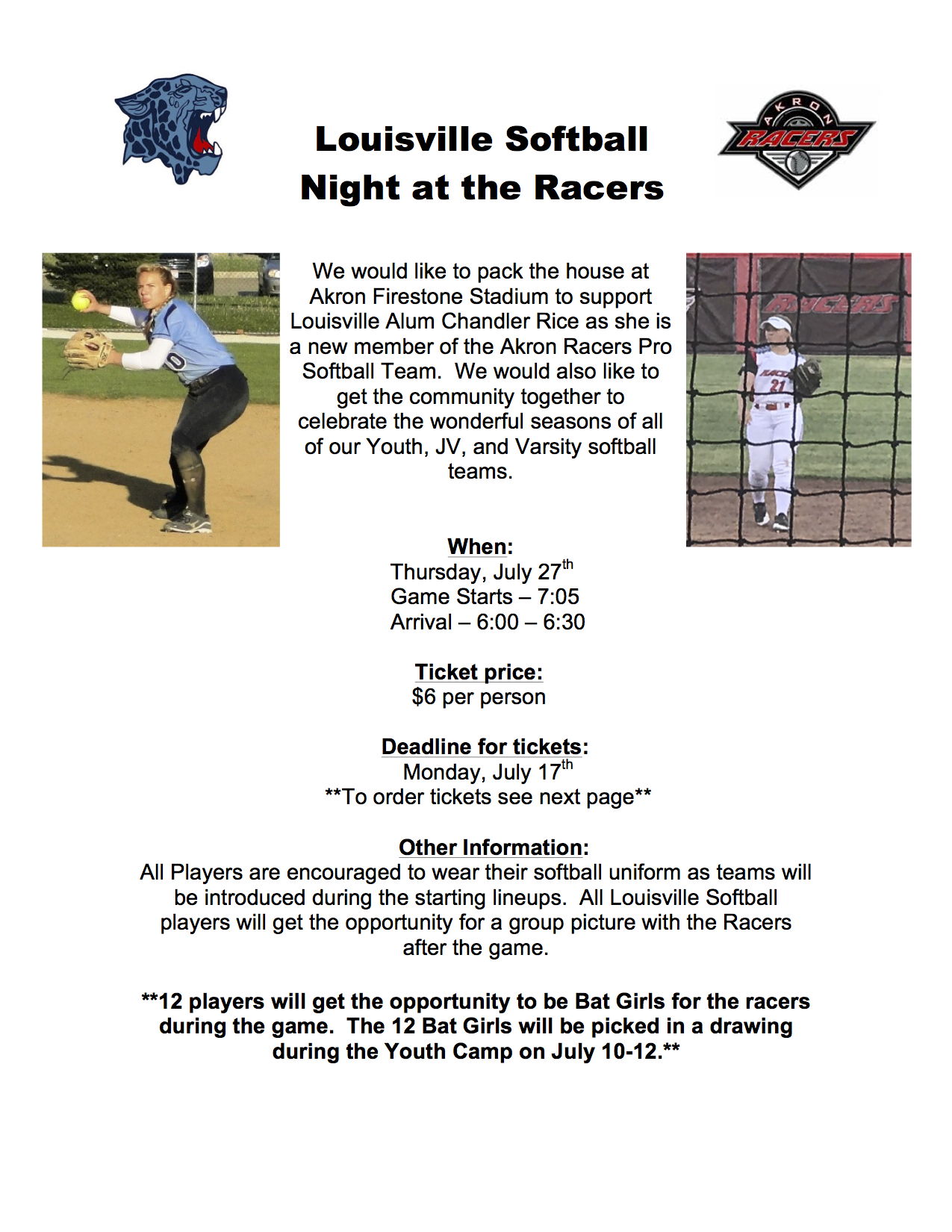 Louisville Softball Night at the Akron Racers Flyer
