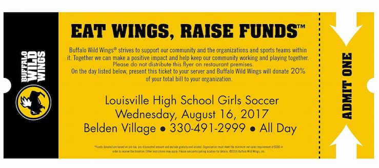 Louisville Leopards Girls Soccer Buffalo Wild Wings Fundraiser 2017