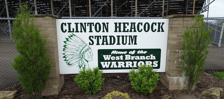 Clinton Heacock Stadium Sign - Home of the West Branch Warriors