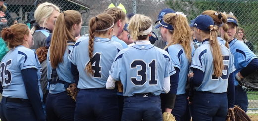 Louisville Leopards Softball 2018 Light Blue Jerses Huddle