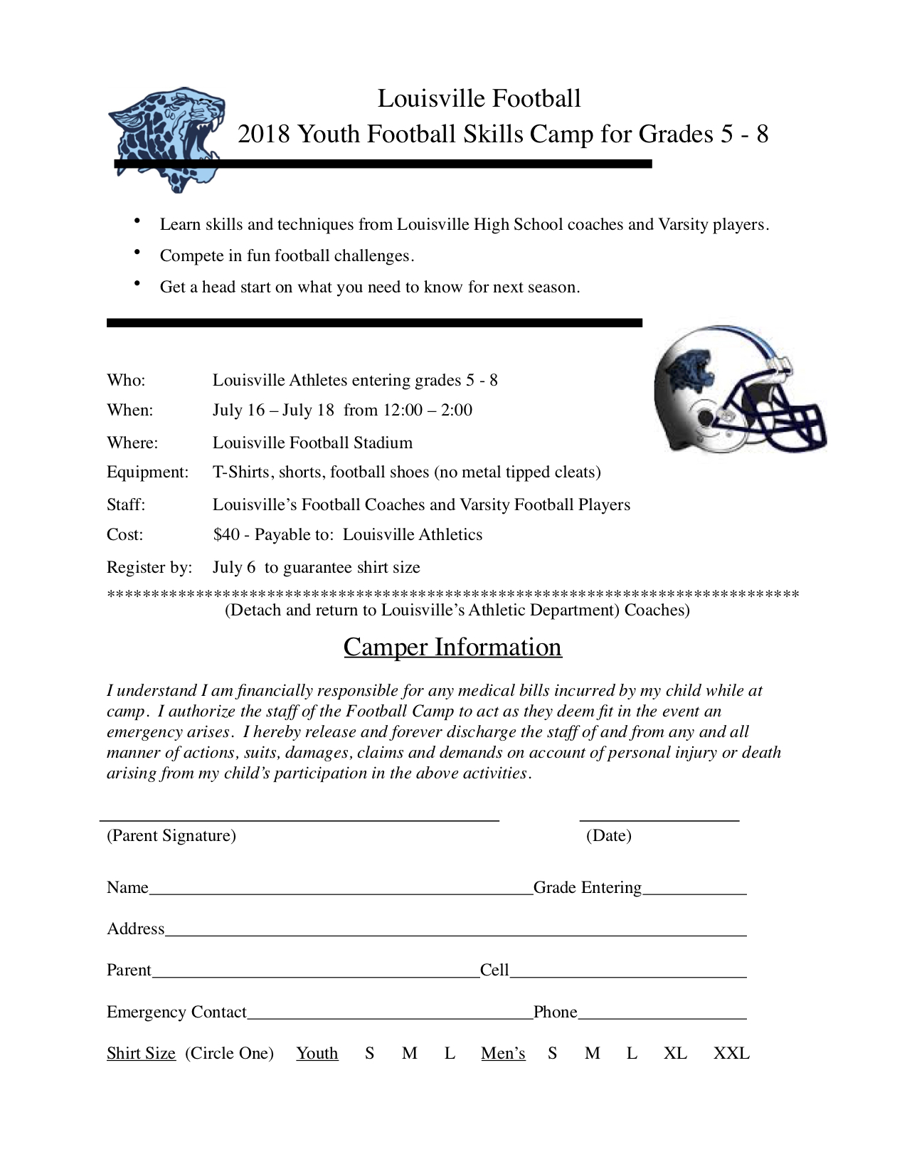 Louisville Leopards Youth Camp 2018 Form