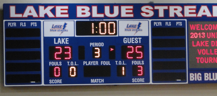Lake High School Blue Streaks Scoreboard Volleyball